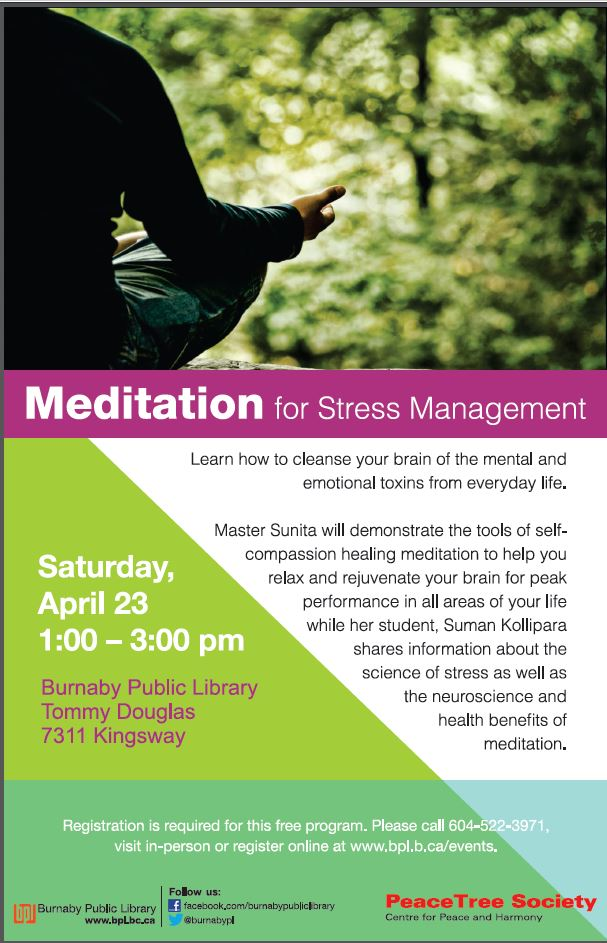 Meditation for Stress Mgmt on April 23rd at Tommy Douglas Library